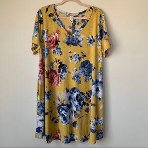 Flamingo Floral Tunic Dress Yellow V Neck Size XXL